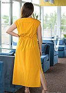 / Размер 50,52,58,60 / Женское платье из вискозного шелка прямого силуэта PL4-351.40 / цвет желтый, фото 2