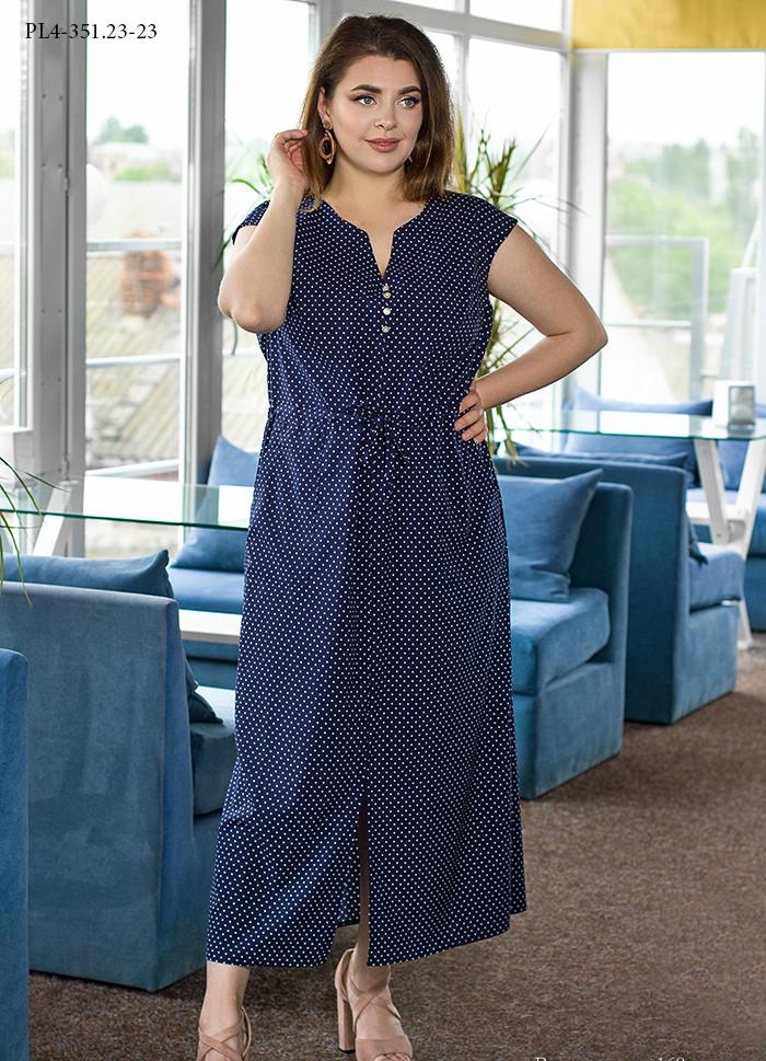 / Размер 50,52,56,58,60 / Женское платье из вискозного шелка прямого силуэта PL4-351.23 / цвет синий