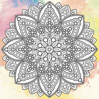 Антистресс раскраска на холсте с красками 25х25 Мандала счастья палитра бурштин (DZ509)