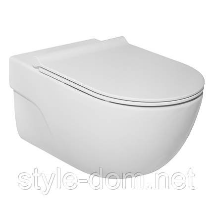 Унитаз ROCA MERIDIAN Rimless с сиденьем Slim Soft Close Инсталляция Geberit A34H240000+458.126.00.1, фото 2