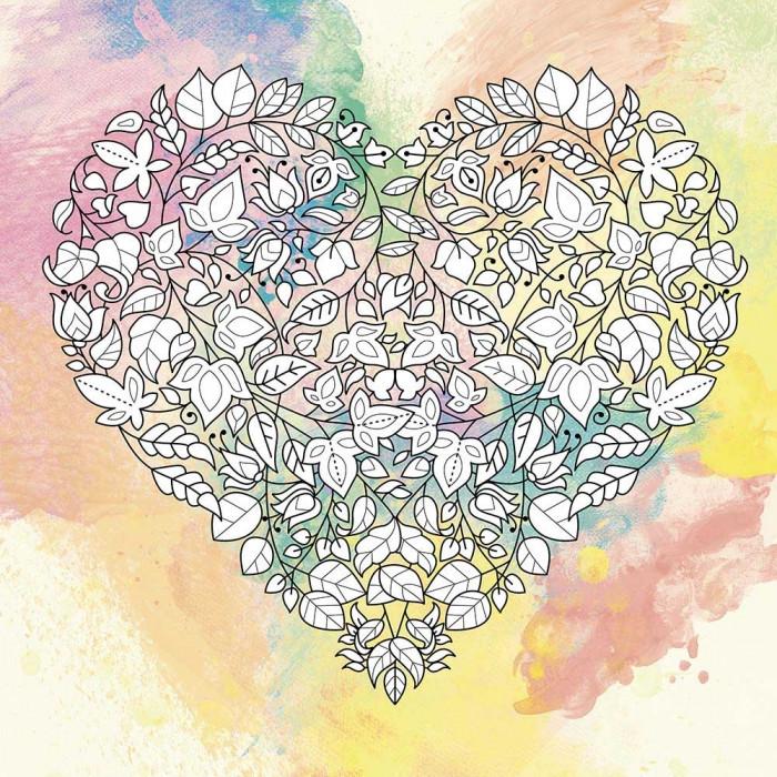 Антистресс раскраска на холсте с красками 25х25 Цветочная любовь палитра рубин (DZ536)