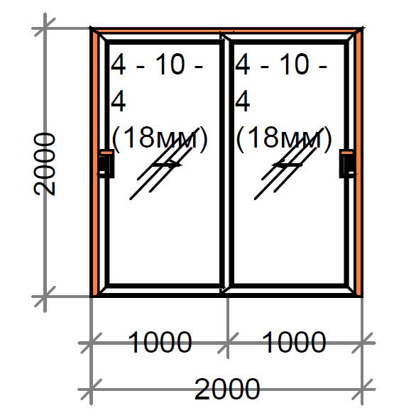 Розсувні двері двостулкові SWS, рама 60