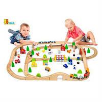 Детская железная дорога, деревянная игрушечная железная дорога Viga Toys, 90 деталей