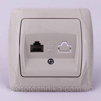 Розетка компьютерная+телефонная VI-KO Carmen (белого цвета)