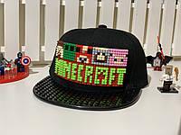 """Бейсболка Capsboom конструктор """"Майнкрафт"""" 52-54см черная кепка черный козырек (12-0813)"""