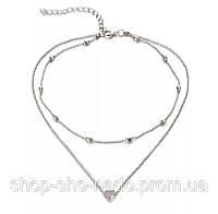 Колье многослойное чокер, цепочка 2 в 1 с подвеской Сердечко. Ожерелье серебряного цвета, бижутерия