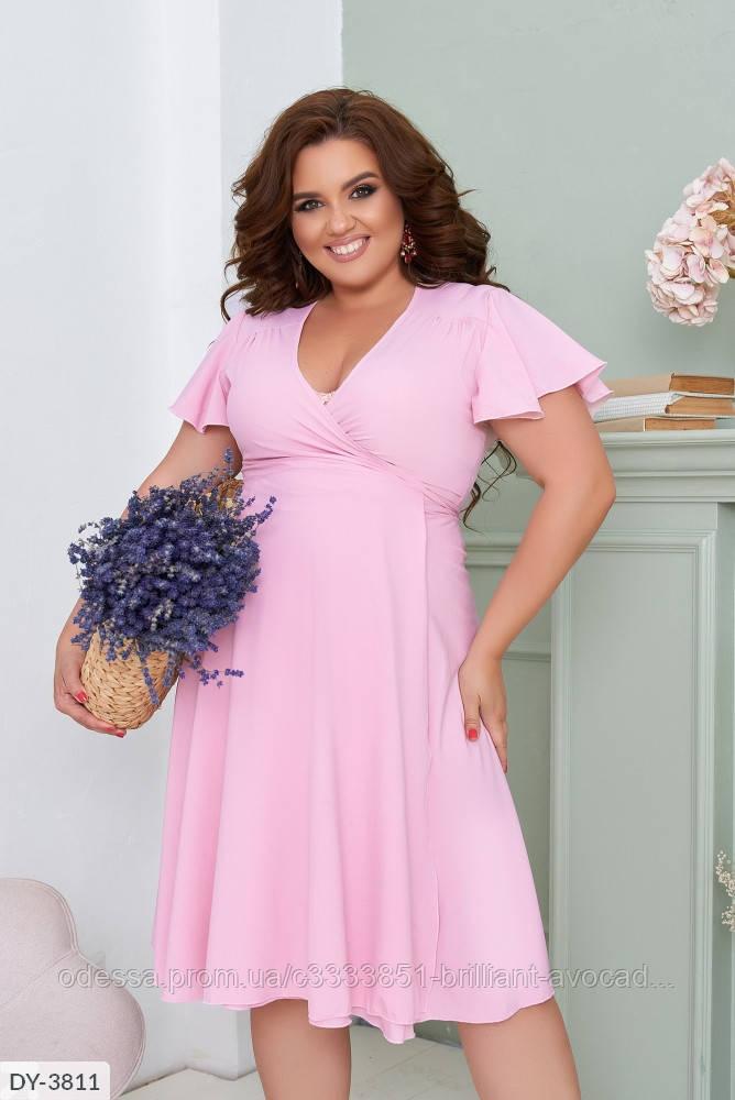 Летнее платье длины миди, розового цвета на запах