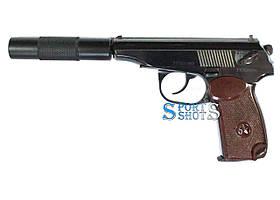 Пистолет пневматический МР-654к с бакелитовой рукоятью и глушителем