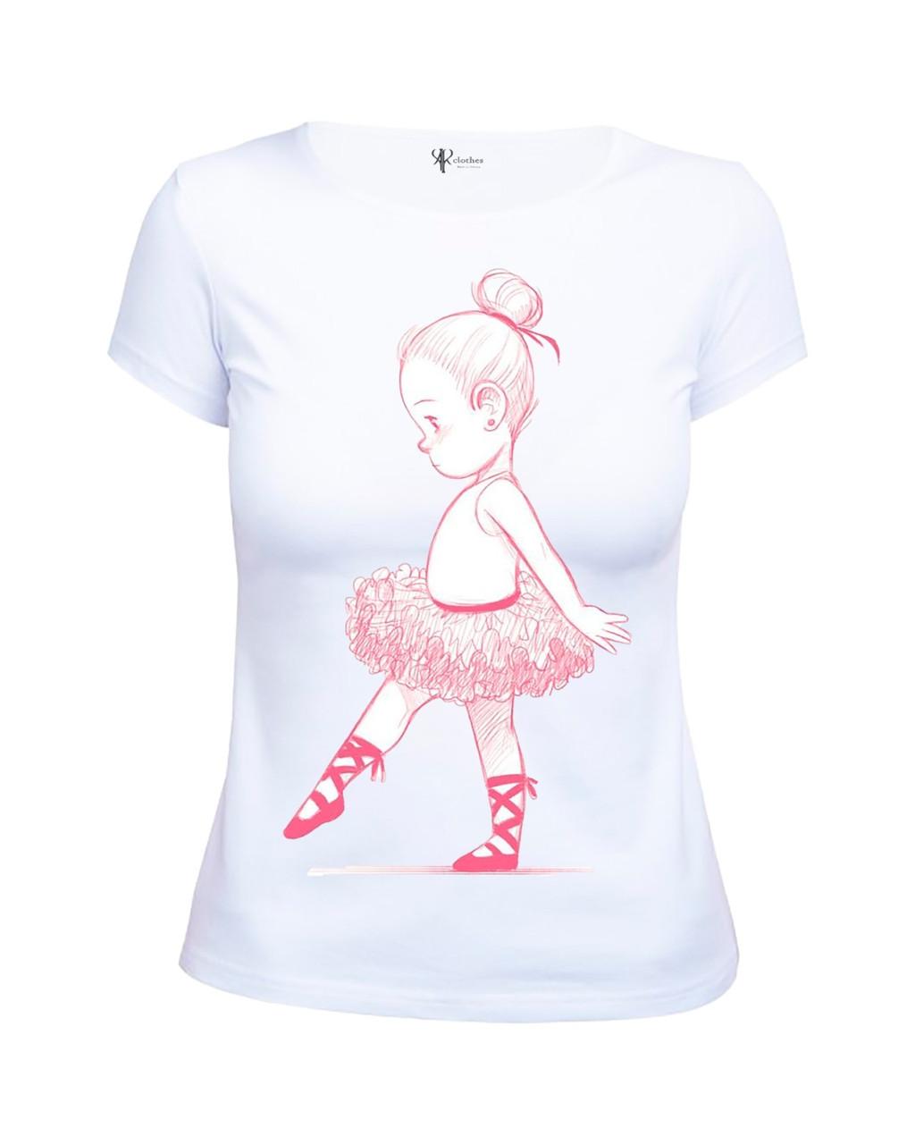 Милая женская белая футболка с картинкой Балерина