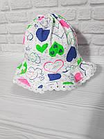 Трикотажная летняя панамка для девочки 1 2 года