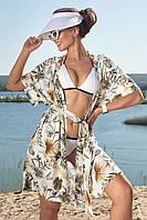 Летняя женская пляжная туника из принтованого льна. Короткая, на завязках. Белая. Накидка, парео