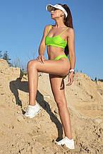 Пляжный женский раздельный купальник с топиком. Салатовый,неоновый, зеленый