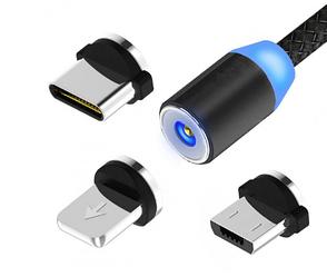 Магнитная зарядка кабель USB 3 в 1 Magnetic (X-Cable TP) для Android, Iphone, Type C Magnetic USB Cable Black