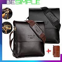 Мужская сумка Polo Videng, Кошелек Baellerry Leather в подарок