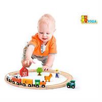 Детская железная дорога, деревянная игрушечная железная дорога Viga Toys, 19 деталей