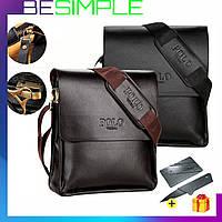 Стильная мужская кожаная сумка Polo Videng / Сумка через плечо + Нож-визитка в Подарок