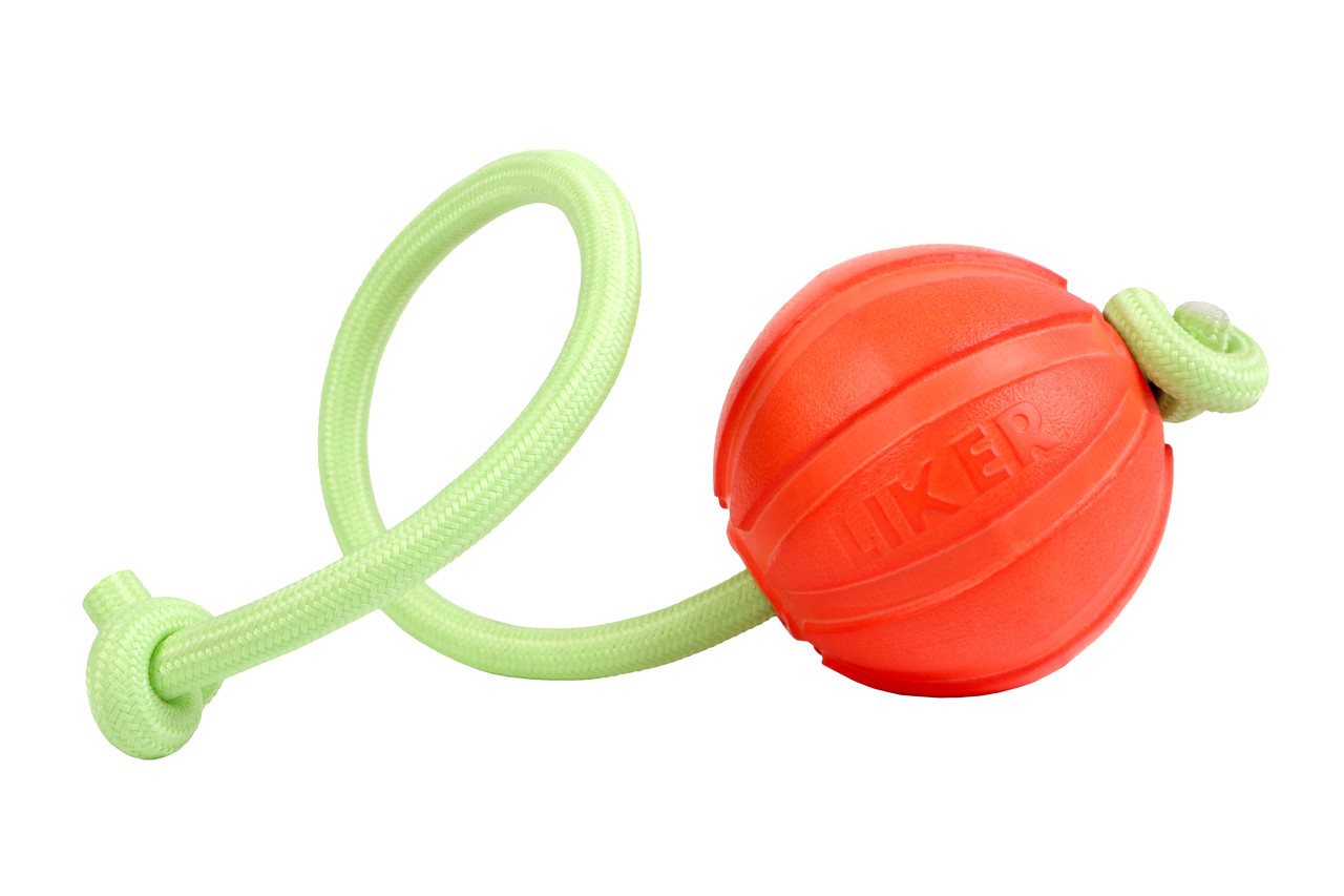 Игрушка для собак Liker Lumi Мячик со светонакопительным шнурком 7см