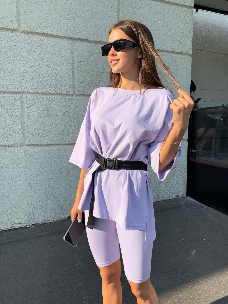 Модная женская футболка оверсайз с поясом