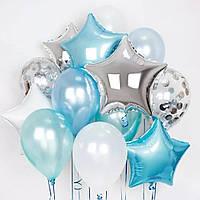 Фонтан из шаров серебряно-голубой