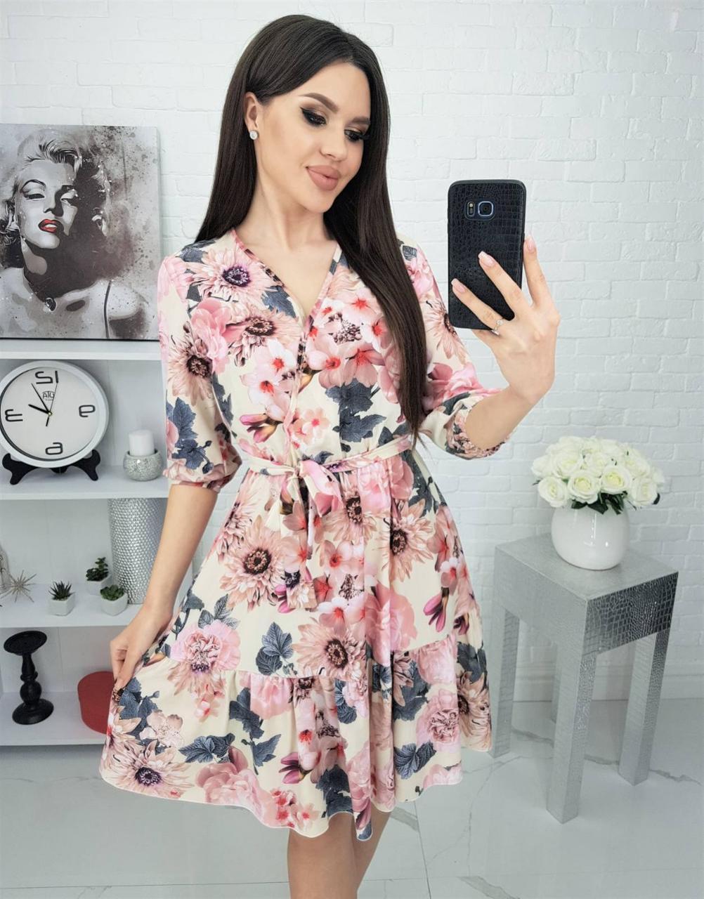 Платье с воланами, и в образным вырезом Розовый