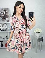 Платье с воланами, и в образным вырезом Розовый, фото 1