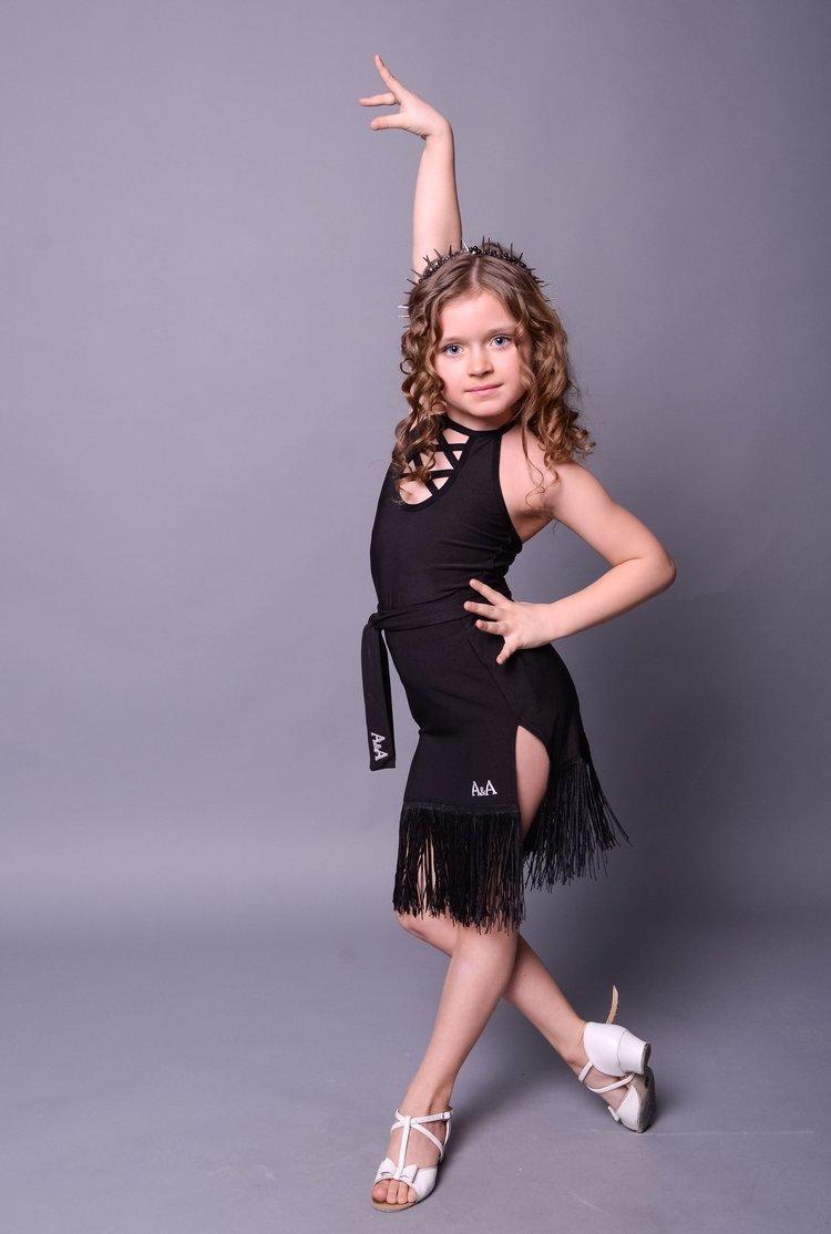 Детская юбка латина A&A с бахромой