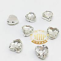Сердечки в цапах, цвет Crystal, размер 10мм, 1шт