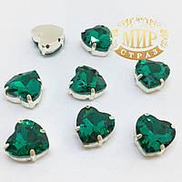 Сердечки в цапах, цвет Emerald, размер 10мм, 1шт