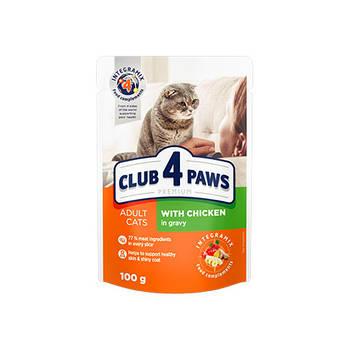 Влажный корм Клуб 4 Лапы для взрослых кошек с курицей в соусе, 24х100 г