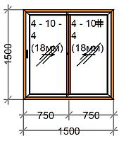 Розсувне вікно двостулкове SWS, рама 60 мм, фото 1