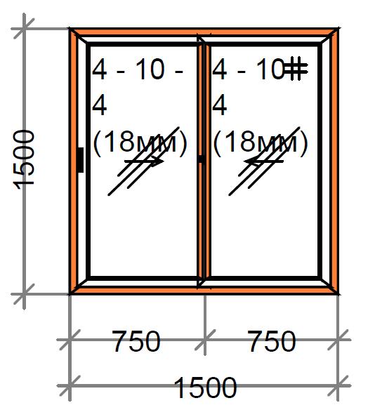 Раздвижное окно двухстворчатое SWS, рама 80 мм