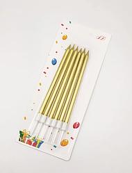 Свечи для торта длинные золотые с белыми подставками 6 шт