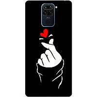 Силиконовый бампер чехол для Xiaomi Redmi Note 9 с рисунком Знак любви