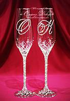 Свадебные бокалы с инициалами в стразах (уточняйте сроки) ТІД-1, фото 1