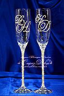 Свадебные бокалы с 2мя инициалами в стразах (уточняйте сроки) К2ІШ-1, фото 1
