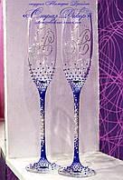 Свадебные бокалы с инициалами в синих стразах (уточняйте сроки, цена указана за 1 бокал) КІОШ-2, фото 1
