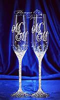 Свадебные бокалы с 2мя инициалами в стразах (уточняйте сроки) Т2ІШ-2, фото 1