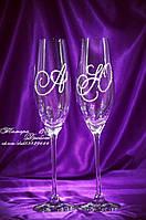 Свадебные бокалы с инициалами в стразах (уточняйте сроки) ТІ-1, фото 1