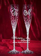 Свадебные бокалы с инициалами в стразах (уточняйте сроки, цена указана за 1 бокал) ГІХ-2, фото 1