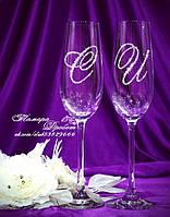 Свадебные бокалы с инициалами в стразах (уточняйте сроки) МІ-1