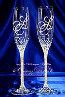 Свадебные бокалы с инициалами в стразах (уточняйте сроки) ЛІШ-1, фото 1