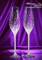 Свадебные бокалы со стразами Сваровски (уточняйте сроки) ТХ-1, фото 1