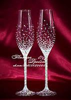 Свадебные бокалы со стразами Сваровски (уточняйте сроки) ТХ-2, фото 1