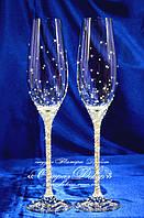 Свадебные бокалы со стразами Сваровски  (уточняйте сроки) ТХ-4, фото 1