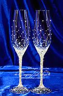 Свадебные бокалы со стразами Сваровски (уточняйте сроки) ТХ-3, фото 1