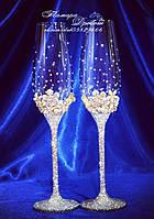 Свадебные бокалы с декором и стразами (уточняйте сроки) ТПНД