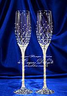 Свадебные бокалы со стразами Сваровски (уточняйте сроки, цена указана за 1 бокал) КХ-3, фото 1