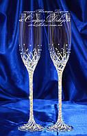 Свадебные бокалы со стразами Сваровски (уточняйте сроки) КШ-3, фото 1