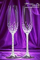 Свадебные бокалы со стразами Сваровски (уточняйте сроки, цена указана за 1 бокал) ФН-1, фото 1