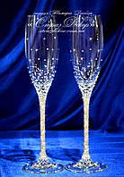 Свадебные бокалы со стразами Сваровски (уточняйте сроки) ЛШ-2
